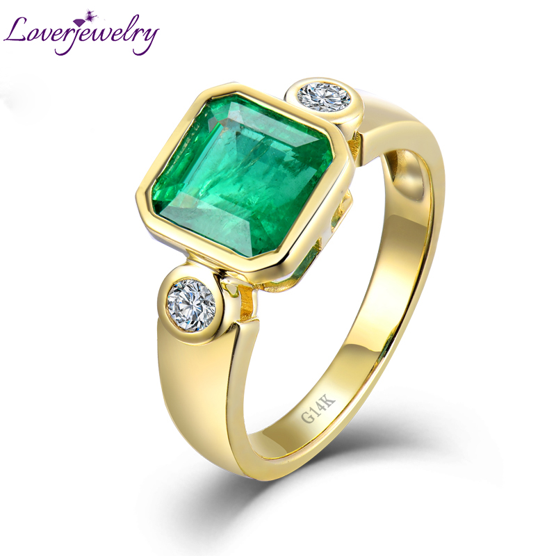 Loverjewlery Solid 14Kt/AU585 Yellow Gold Natural Emerald Promised Diamond Rings for Women Genuine Gemstone solid 18k yellow gold green emerald wedding diamonds rings good quality genuine gemstone fine jewelry for women promised gift