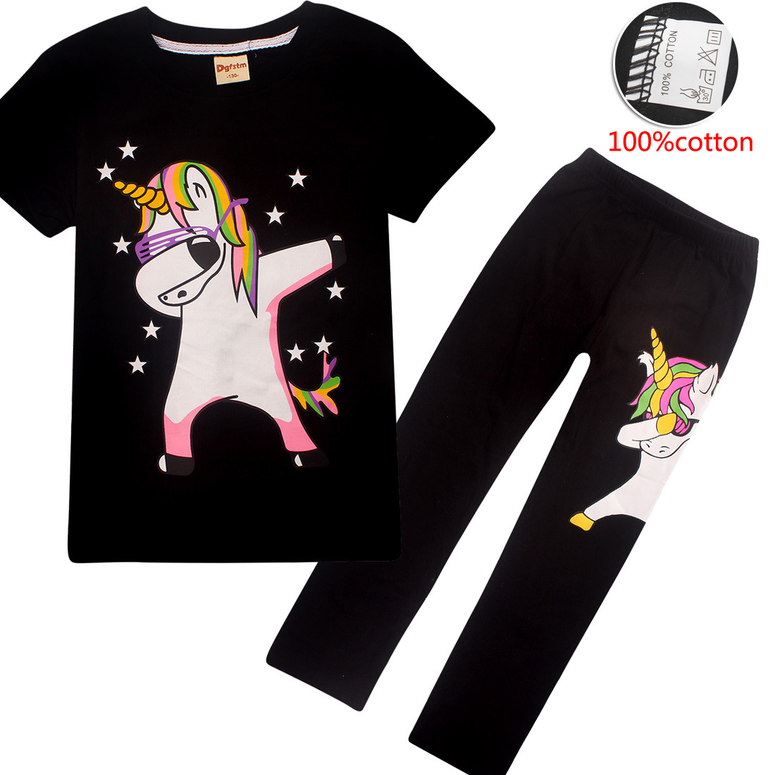 Pajamas   for kids Girls 2019 Summer Children clothing unicorns Sleepwear Jojo Siwa Pijamas Unicornio Pyjamas animal pijama 4-12y