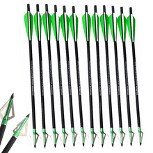6pcs Archery Crossbow 16 Inch Arrow With Blade Arrowhead Green Plastic Feather Mix Carbon