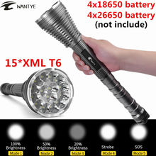 30000Lumens 15*XML T6 LED Flashlight Torch 5 Modes Self Defense Police Tactical Flash light lantern For 4×18650 Battery