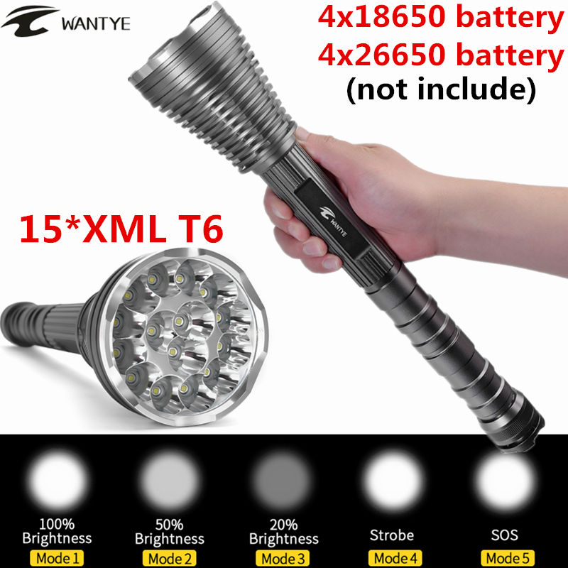 30000Lumens 15*XML T6 LED Flashlight Torch 5 Modes Self Defense Police Tactical Flash light lantern For 4x18650 Battery ...