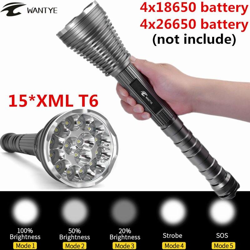 30000Lumens 15*XML T6 LED Flashlight Torch 5 Modes Self Defense Police Tactical Flash light lantern For 4x18650 Battery