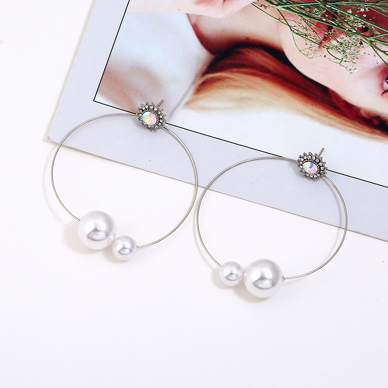WNGMNGL Delicate Handmade Simulated Pearl Crystal Earrings for Women Gold Silver Color Round Circle Earrings Pendientes Jewelry in Drop Earrings from Jewelry Accessories