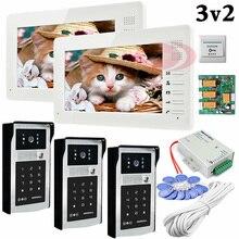 Apartment 3 Doors HD 700lines Cameras Password And RFID Cards Unlock 2 Color 7″ Monitors Video Door Phones Intercom System