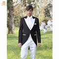 Morning Style Groomsmen Peak White Lapel Groom Tuxedos One Button Men Suits Wedding Best Man Blazer (Jacket+Pants+Tie+Vest) B977