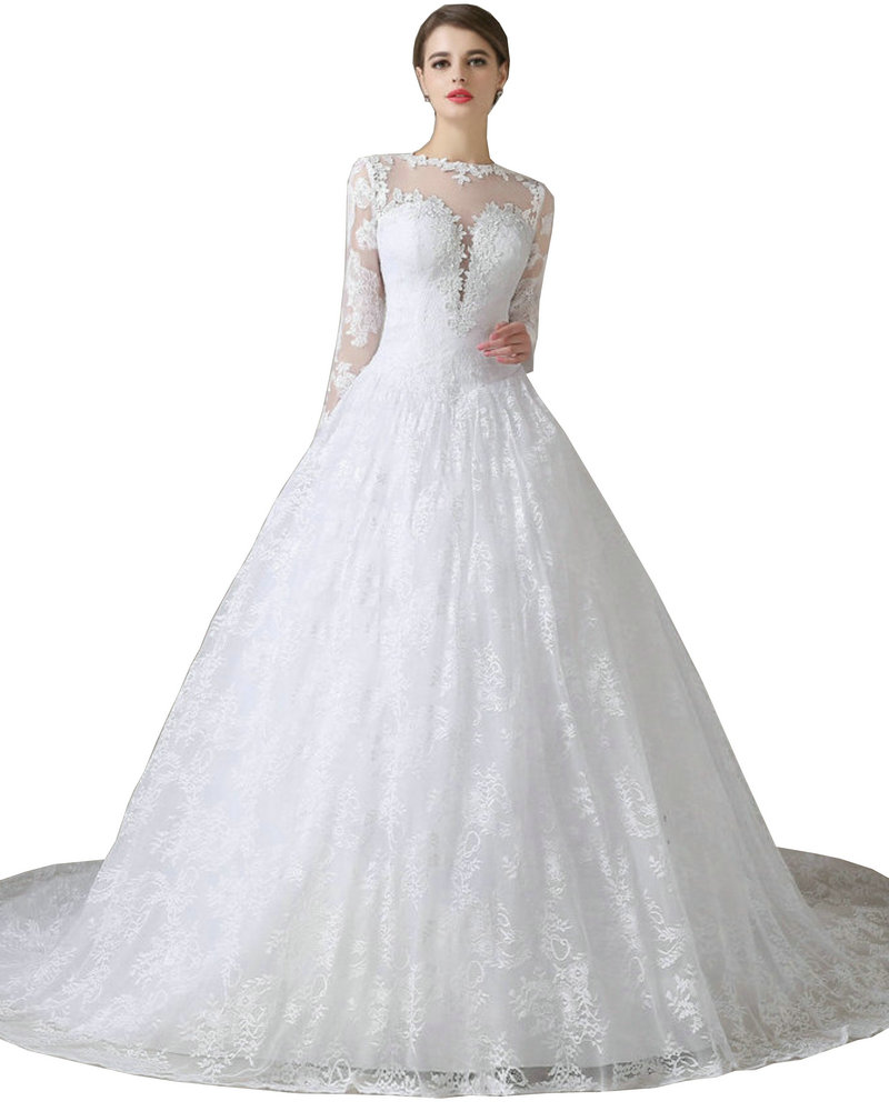 9a8670aa56d Aliexpress.com   Buy Noble Lace Long Sleeve Wedding Dresses 2017 Said  Mhamad Renda Church Castle Bridal Gown Wedding Dress Illusion Back from  Reliable ...