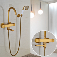 Factory Retail Shower Faucet Wall Mounted Bathroom Mixer Taps With Brass Hand Shower