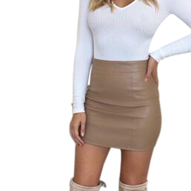 d856fe5bb2279c 2017 Ultra Perfect PU Leather Skirt Women Pink Mini Skirt Sexy Bodycon High  Waist Pencil Skirt Outfits New Arrivals-in Skirts from Women's Clothing on  ...