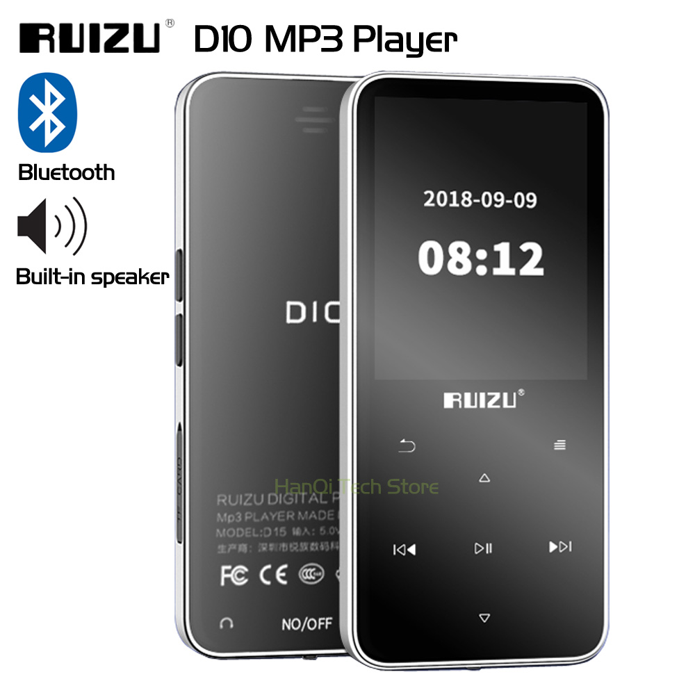 New Original RUIZU D10 Bluetooth MP3 Player Lossless HiFi MP3 Music Player Portable Audio 8GB With Speaker FM Radio E-book Clock