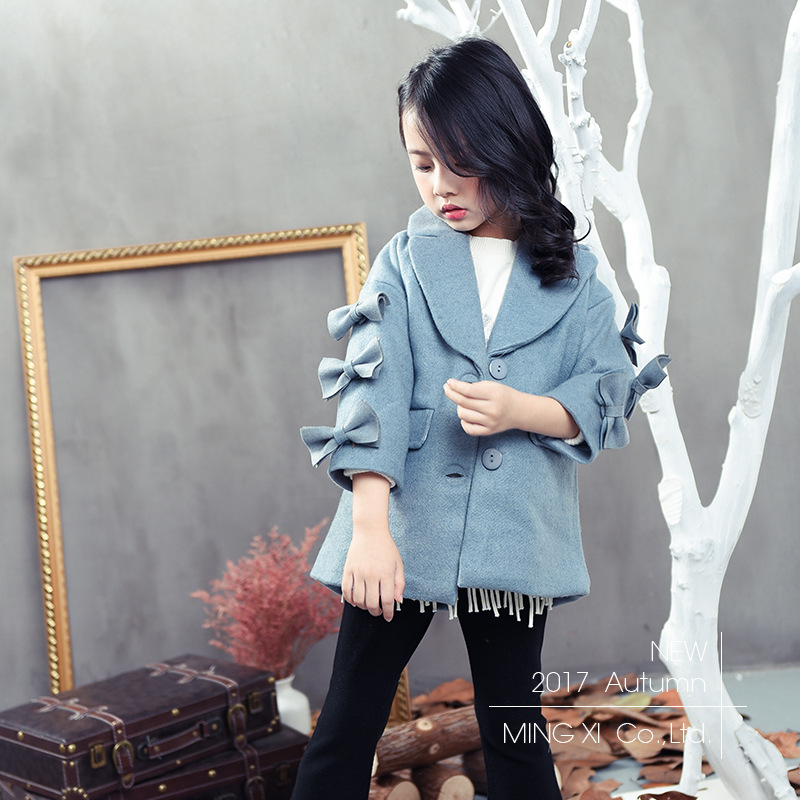 2017 Winter New Girl Woolen Jacket Solid Color Lapel Wanderers Bunched Bows Decorative Sleeve Coat brief lapel long sleeve solid color blazer for women