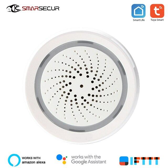 SMARSECUR Sensor inteligente inalámbrico de alarma con WiFi, sensor de temperatura y humedad, alimentación por USB, tuya, samrt