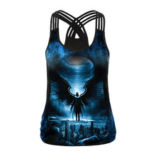 все цены на Running Vests Galaxy Black Hole Crop Top Women Print Planet Sexy Tops Sporting Fitness Tank Top Workout Cropped Elasticity Cool онлайн