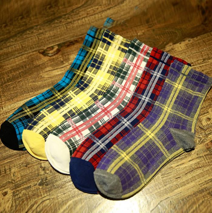 Autumn and Winter Fashion colorful Hit Color Cotton Warm Men Socks Houndstooth Stripes Plaid Classic Breathable Absorbent Sock
