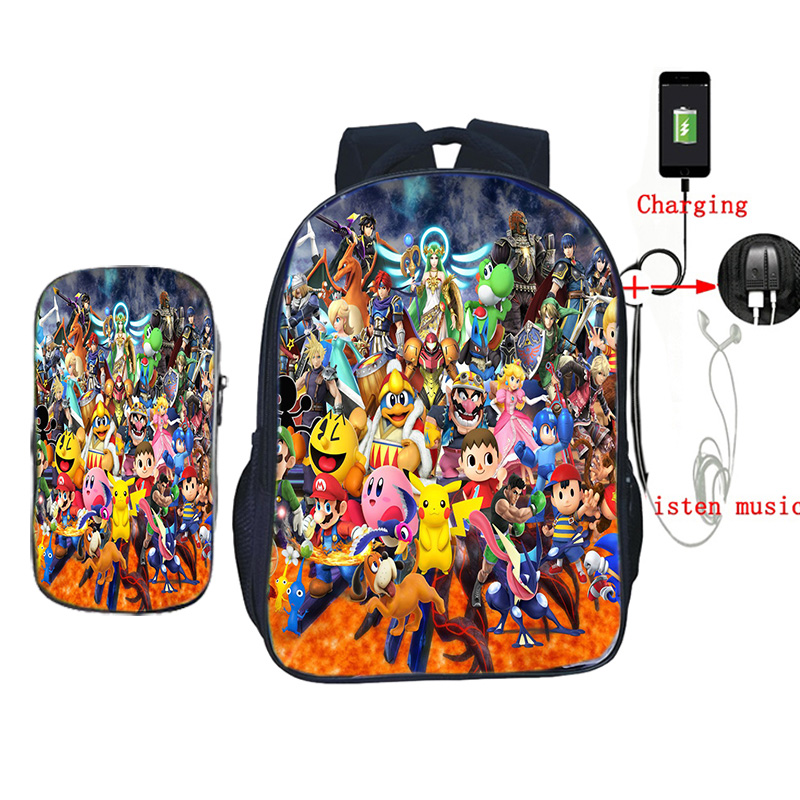 Super Smash Bros Backpack USB Anti-theft Recharging Backpack school book bag