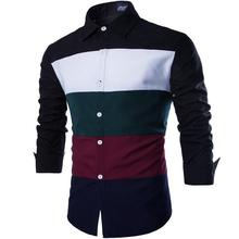 2017 New Fashion Men's Shirts Hit Color Patchwork Long Sleeve Slim Fit Formal Shirt Casual Male Tops Camisas Man's Clothing