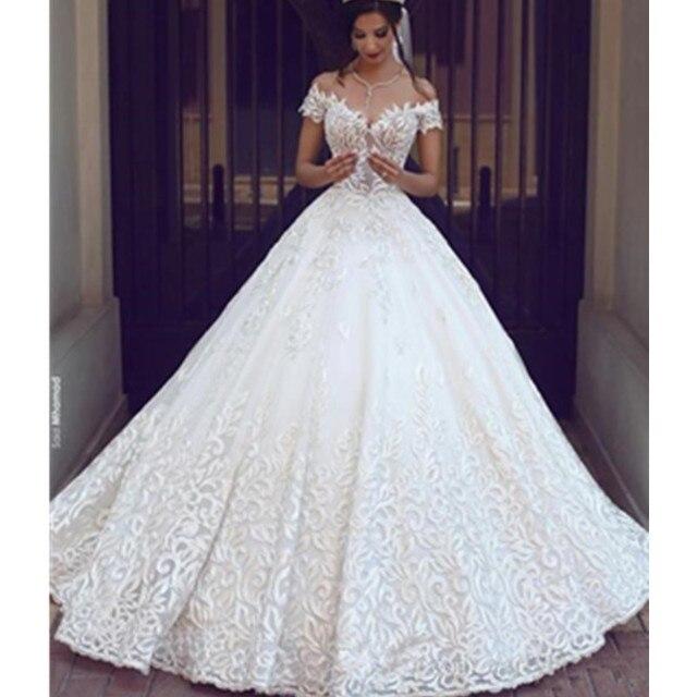 Princess Castle Ball Gown Lace Wedding Dress Deep V Neck Open Back ...