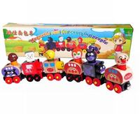 Wooden Toy Magnetic 6 PCS Small Train Cars Vans Educational Toys Lorry Track Railway Vehicles Diecast