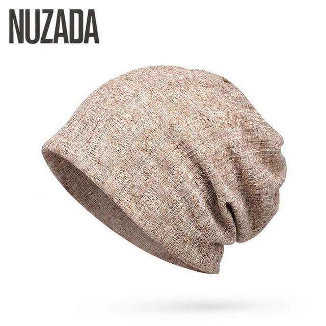 e64ec0d15a9d9 Brand NUZADA Thin Breathable Men Women Knitted Caps Summer Bonnet Hat Solid  Color Skullies Beanies Multifunction Hedging Cap