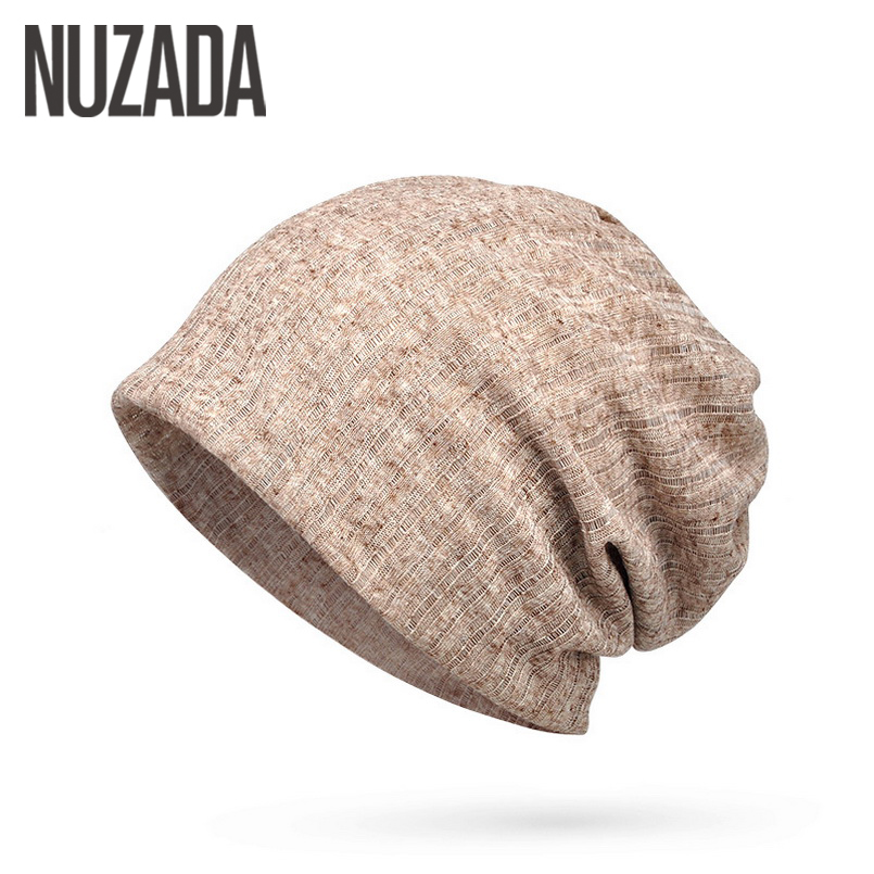 Brand NUZADA Thin Breathable Men Women Knitted Caps Summer Bonnet Hat Solid Color   Skullies     Beanies   Multifunction Hedging Cap