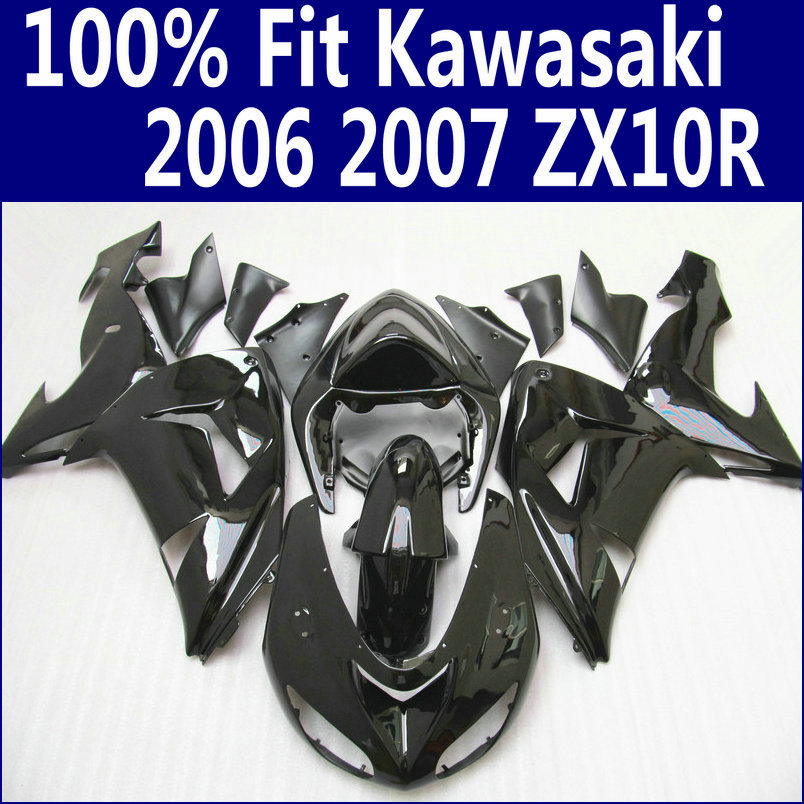 100% fit for Kawasaki fairings Ninja ZX 10R 2006 2007 all glossy black ABS fairing kit ZX10R 06 07 HJ19 +7 gifts black moto fairing kit for kawasaki ninja zx14r zx 14r zz r1400 zzr1400 2006 2007 2008 2009 2010 2011 fairings custom made c549