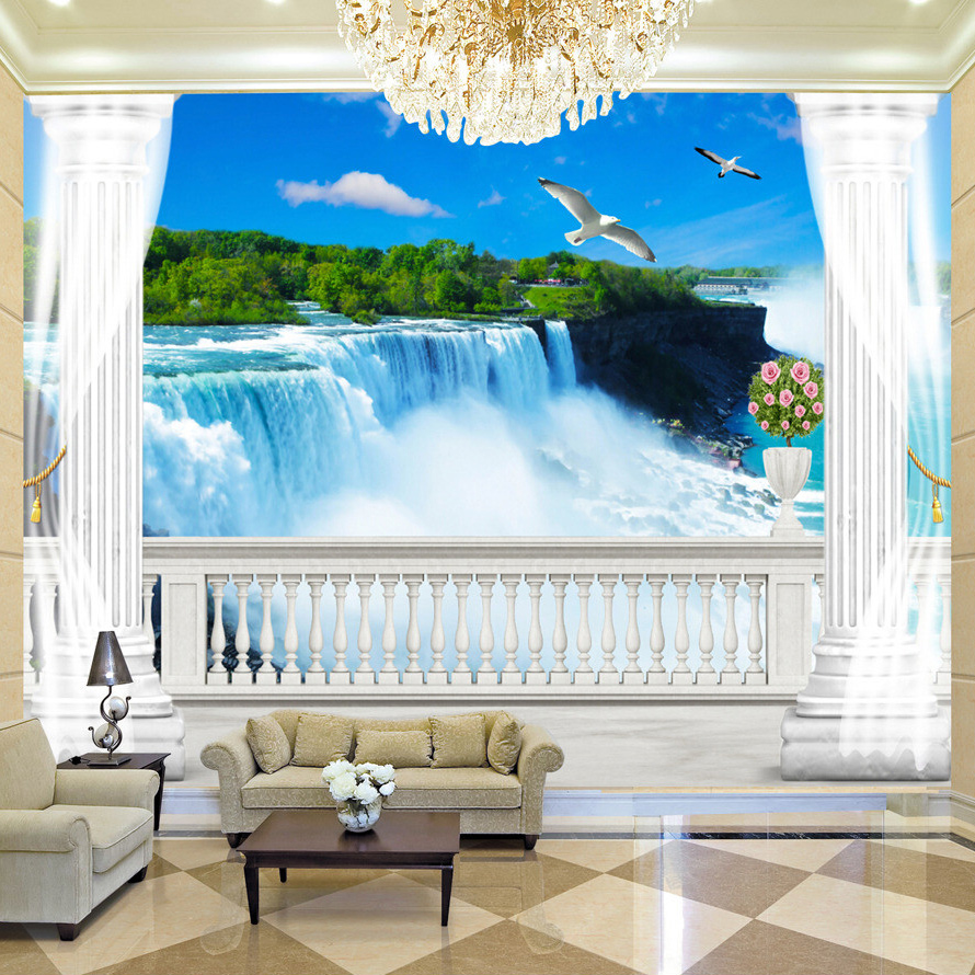 Custom Wallpaper Mural 3D Balcony Roman Column Background Wall Painting Living Room Waterfall Natural Scenery Photo Wallpaper 3D  free shipping 3d stereo angel rome column fantasy wallpaper mural custom dining room children room background wallpaper