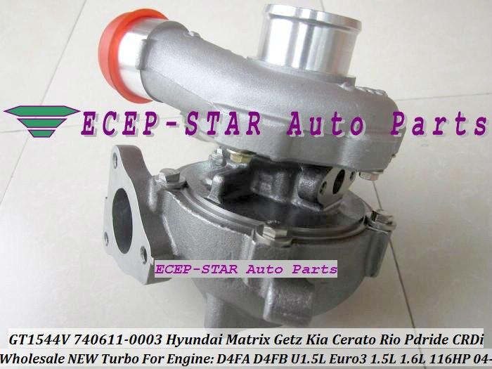 Бесплатная доставка GT1544V 740611-5001S 740611-5002S турбо для HYUNDAI Matrix Getz для KIA Cerato Rio Pdride 1.5L CRDi D4FA D4FB 1.6L title=