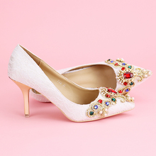 2016 New Women's All Seasons Pointy Toe Stiletto Pumps Fashion Lace And Diamond Wedding Bridal Shoes White Red Pink