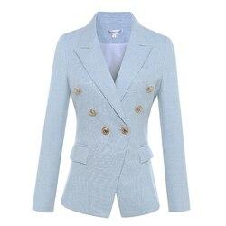 Высокое качество новейший 2020 дизайнерский Блейзер Женский длинный рукав двубортный пиджак с металлическими кнопками в форме льва Куртка в...
