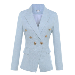 HIGH QUALITY Newest 2019 Designer Blazer Women's Long Sleeve Double Breasted Metal Lion Buttons Blazer Jacket Outer