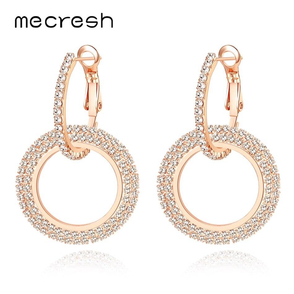 bc8ddc7a0465 Mecresh doble círculo redondo pequeño pendientes de aro 888 Cristal de  diamantes de imitación de plata de oro rosa pendientes de Color oro para  las mujeres ...