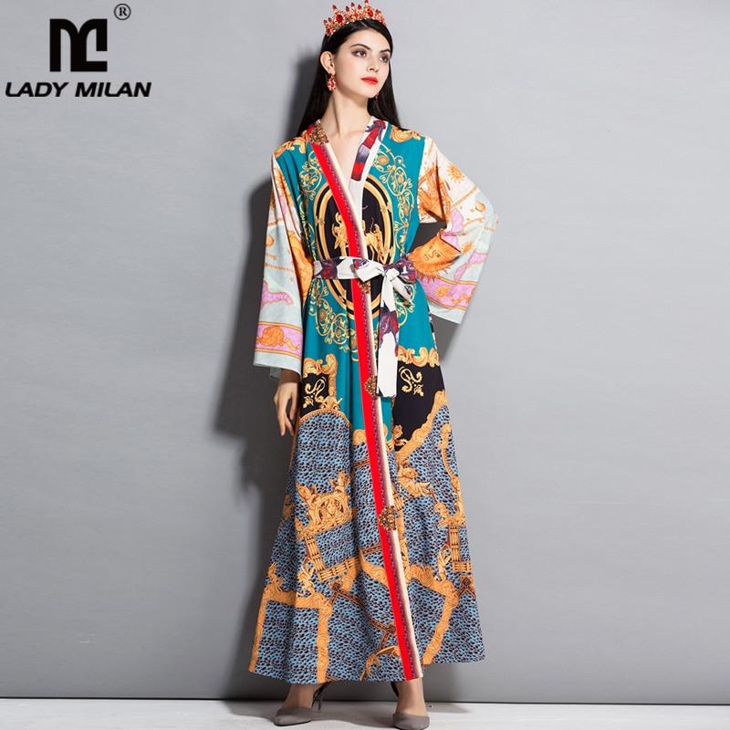 New Arrival 2018 Womens Sexy V Neck Long Sleeves Sash Belt Printed Loose Design Fashion Long Pajama Runway Dresses