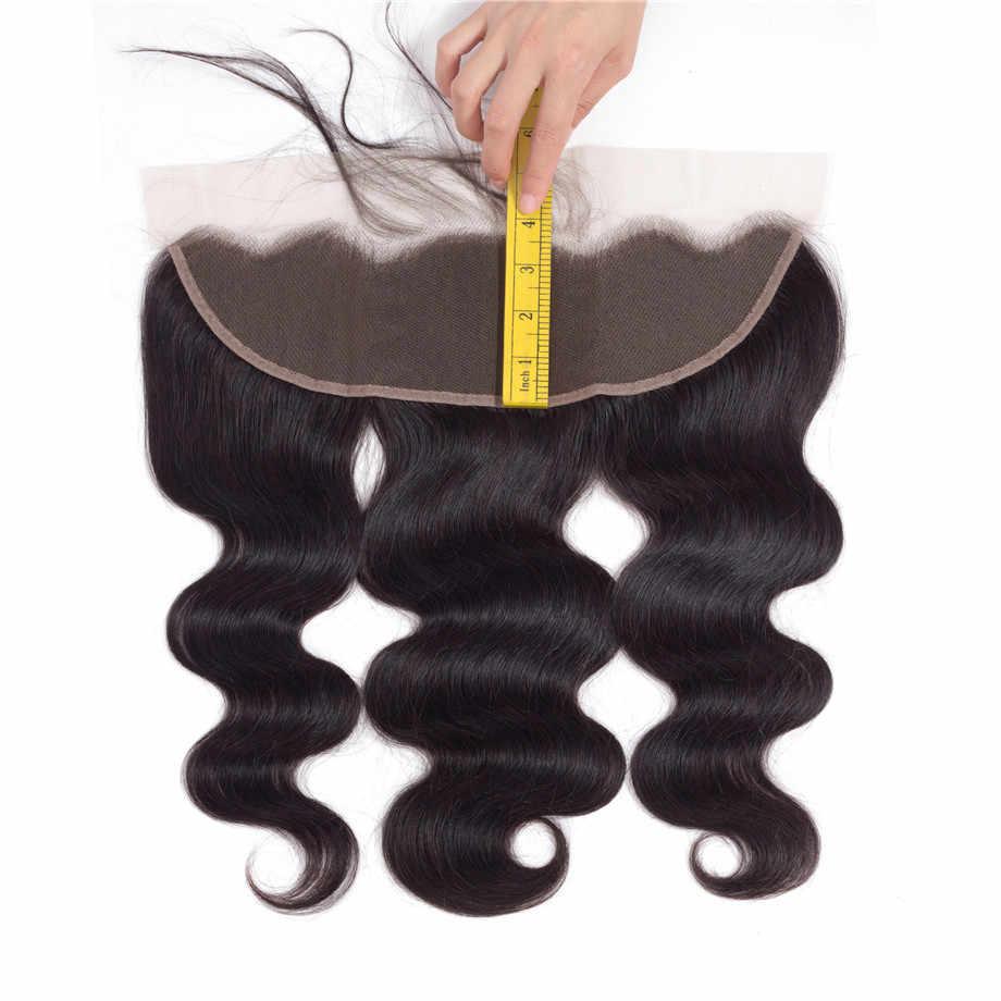 Bling Saç Dantel Frontal Kapatma Brezilyalı Saç Vücut Dalga 13x4 Ücretsiz Bölüm İnsan Saç Kapatma Ile Bebek Saç doğal Renk Olmayan Remy