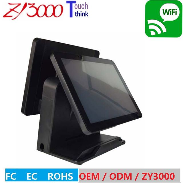 """2017 hot sale ( black Q8) 15"""" windows touch double screen  all in one pos terminal With MSR card reader"""