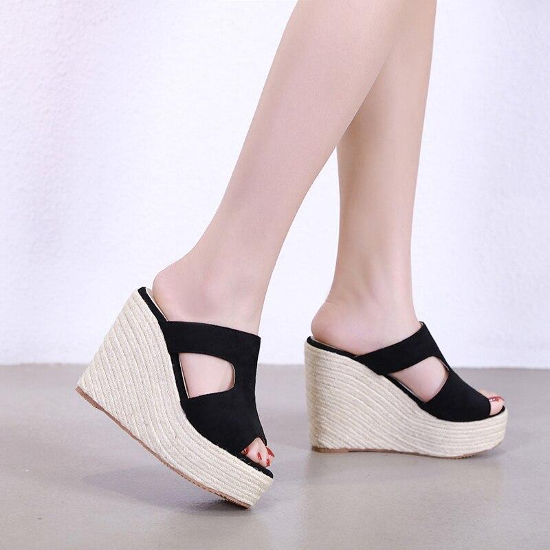 c88a4f8c Paja Casuales Flocado Plataforma Sandalias Mujeres Diapositivas 2019 Cuña  apricot Las Para Cuñas Zapatos Tacones Negro De Zapatillas 6OddTq