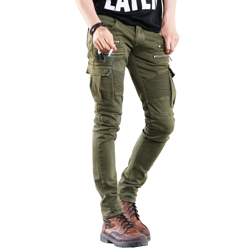 Military Mens Slim Fit Skinny Casual Cargo Overalls Pants Packet Long Trouser Ch