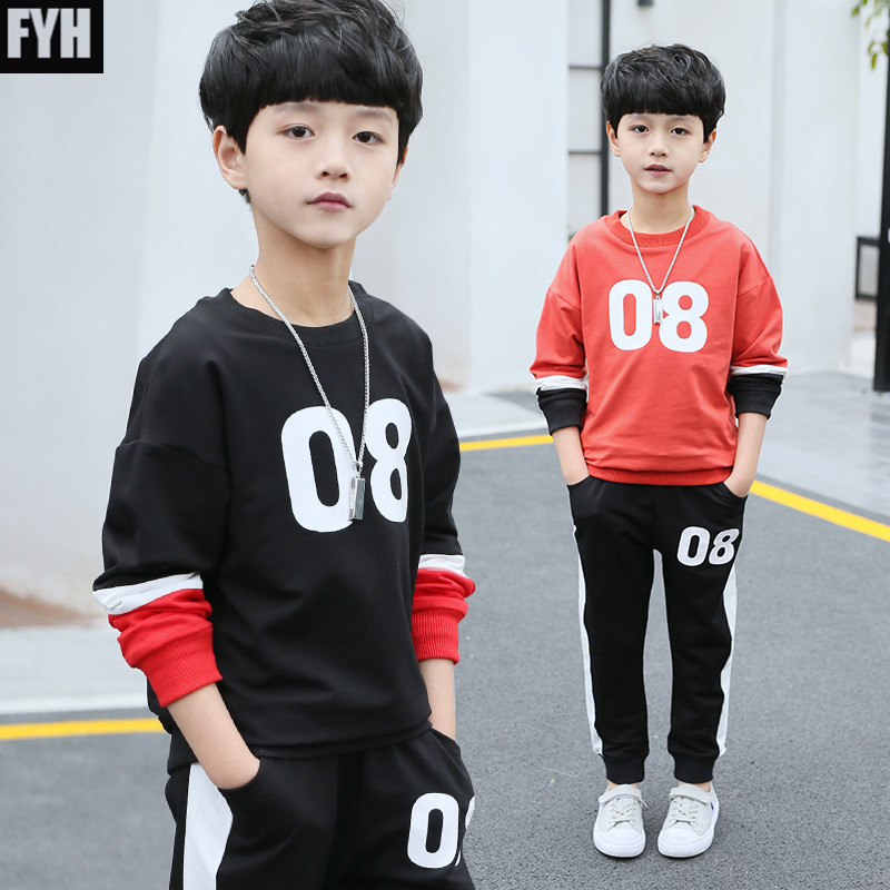 FYH 2018 Children Autumn Spring Suit Set Big Boys Casual Tracksuit Boys Long Sleeve Pullover+Pants Kids Costumes Clothing Set lvanita spring autumn 5size girls boys clothing set floral kids suit set casual two piece sport suit for boys tracksuit children