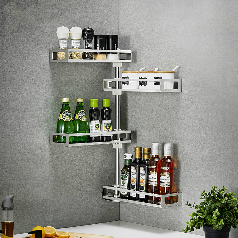 Corner Rack Kitchen Storage Rack 304 Stainless Steel Seasoning Rack Wall Hanging Rotating Seasoning Rack LU41814