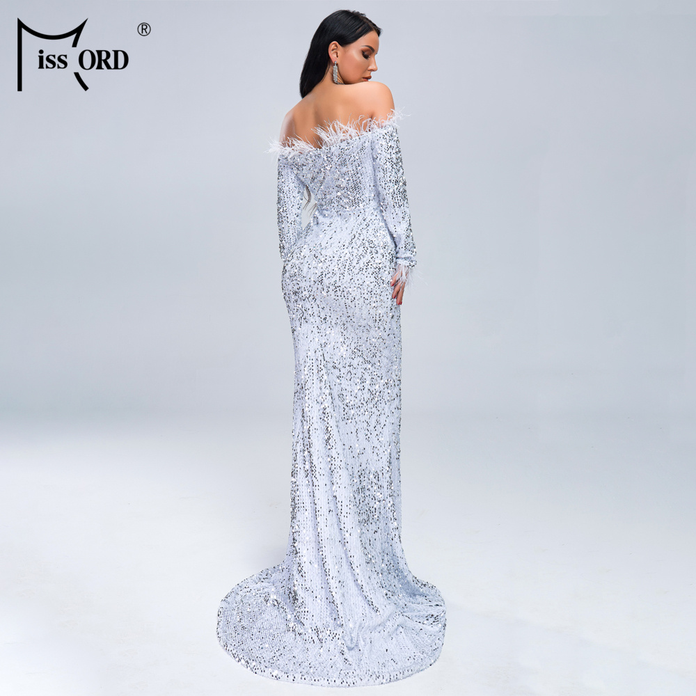 HTB1HnHjXlOD3KVjSZFFq6An9pXaS - Missord Sexy Off Shoulder Feather Long Sleeve Sequin floor length Evening Party Maxi Reflective Dress Vestdios FT19005