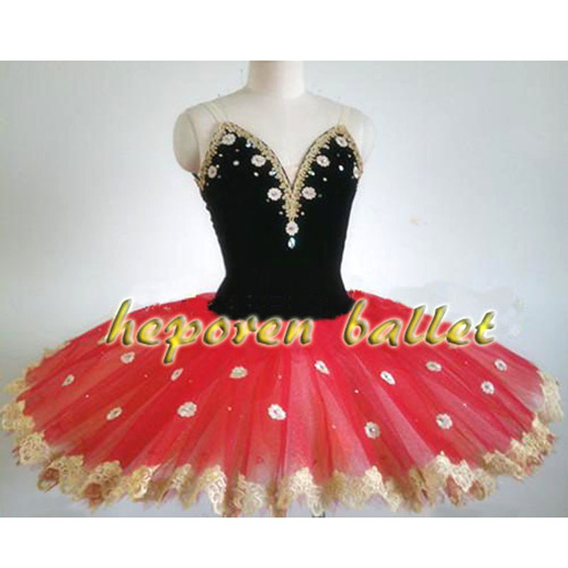 High Quality Professional Customized Don Quixote Black Red Ballet Dress,Hard Organza Tulle Ballet Tutus Flower Skirt Ballet Tutu