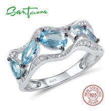 Серебряные кольца для женские натуральные голубые камни белые кубического циркония камни кольца из стерлингового серебра 925 ювелирные изделия