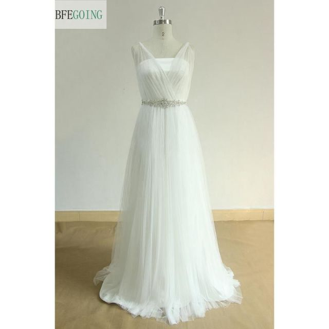 White Tulle A line Wedding Dress Floor Length Sweep Train V Neck ...