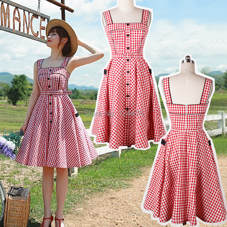 2015 New Women S 50s Vintage Dress Plaid Pattern Full