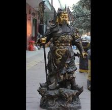 free shipping wan67104020+++53″ Chinese Bronze Gild General Guan Gong Yu Warrior God Hand Broadsword Statue