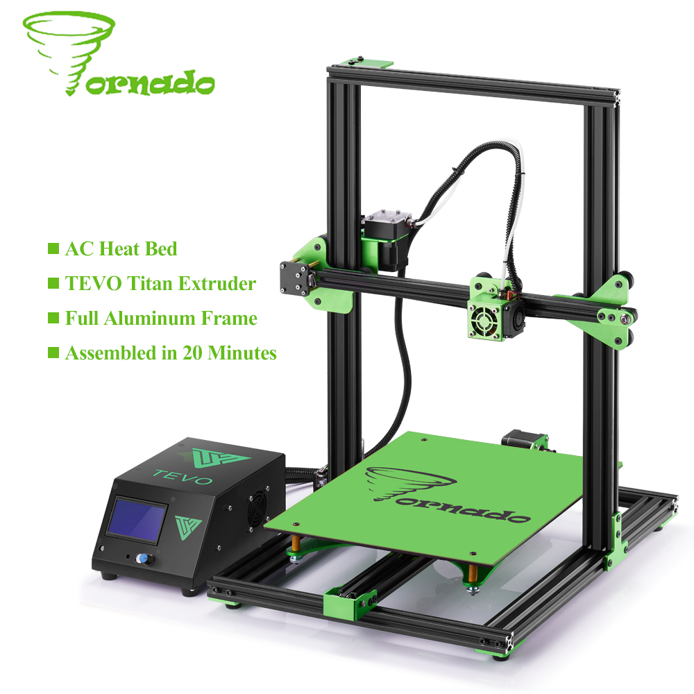 2017 TEVO Tornado 3D Printer Fully Assembled Aluminium Extrusion 3D printers Impresora 3d High Precision Usb With Titan Extruder double color m6 3d printer 2017 high quality dual extruder full metal printers 3d with free pla filaments 1set gift