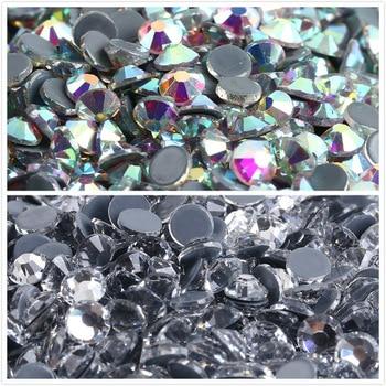 цена на AAAAA+Top Quality Crystal AB/Crystal Clear DMC Super Bright Glass Strass Iron On Hotfix Rhinestones For Fabric garment/Nail Art