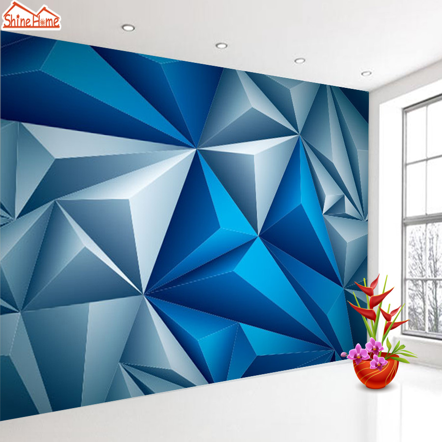 Shinehome 3d Room Blue Geometry Brick Wallpapers 3d For