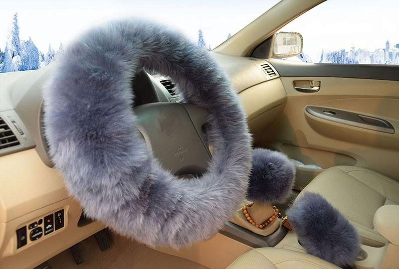 Winter Warm Wool Handbrake Cover Gear Shift Cover Steering Wheel Cover 38cm diameter 1 Set 3 Pcs 3