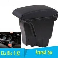 Für KIA Rio/rio 3 armlehne box zentralen Speicher inhalt box mit tasse halter produkte innen auto styling zubehör 2011 2016|Armlehnen|   -