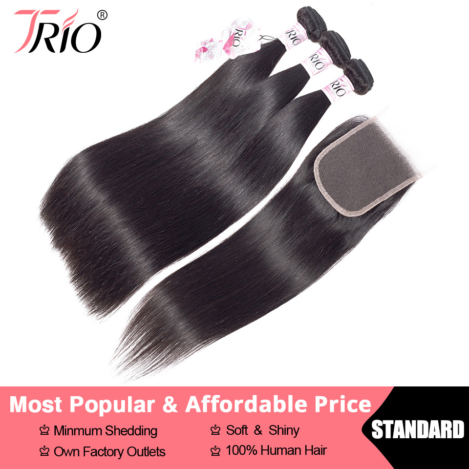 TRIO Brazilian Hair Straight 3 Bundles With Closure Human Hair Weave Bundles With Closure Lace Closure Human Hair Extension