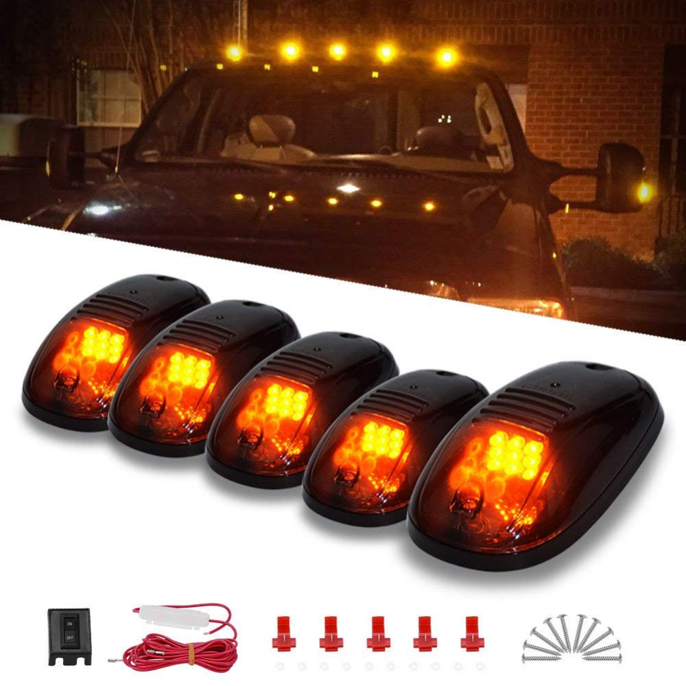 us $26 14 12% off cab marker lights 5 x amber top clearance roof running lights with wiring harness compatible for ford dodge truck suv pickup 4x4 in Dodge Engine Compartment Wiring Harness